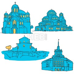 Sofia Bulgaria Colored Landmarks (Hebstreits) Tags: abstract alexander art background blue brick bulgaria canvas capital card cathedral christian church color colors communistpartyhouse desitnation destination early europe former greeting illustration infographic monument nevsky night oldest orthodox pen presentation print red sedmochislenitsi serdica sketch sofia stgeorge sveti tourism tourist travel trip urban vector wall yellow
