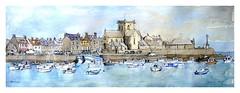 Barfleur - Normandie - France (guymoll) Tags: barfleur france croquis sketch aquarelle watercolour watercolor port bateaux ships boats église normandie panoramic panoramique