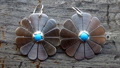 Silver Flower Earrings with Sleeping Beauty Turquoise (Scott Sterbenz) Tags: sterlingsilver sleepingbeautyturquoise earrings handmade sfmade madewithoutpowertools medieval madeinsanfrancisco gothic postmodern folk renaissance recycledmetal flowerjewelry