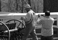 Farmer & Guy, Kline Creek Farm. (EOS) (Mega-Magpie) Tags: canon eos 60d outdoors people guy farmer man dude kline creek farm west chicago dupage il illinois usa america bw black white monochrome