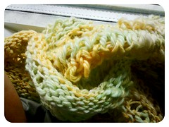 fibre friday: finished the moebius wrap! (ebbandflo_pomomama) Tags: knitting fibre
