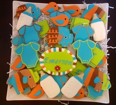 Zutano baby shower cookies (DeLisious1) Tags: elephant bird cookies cake babyshower royalicing decoratedcookies zutano