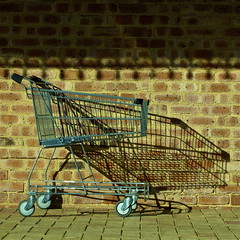 A Tisket, A Tasket, A Trolley Shadow Basket (Padmacara) Tags: shadow brick square australia fremantle lightshadow woolies foodshopping g10