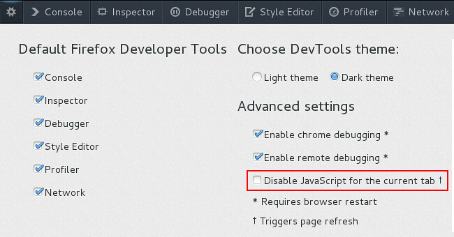 Disable JavaScript Option in Firefox DevTools