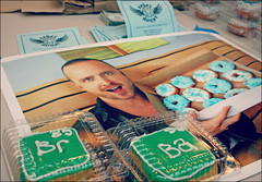 'Breaking Bad' doughnuts (K. Sawyer Photography) Tags: food poster inspired bluesky donuts abq tribute fans doughnuts brba albuquerquenewmexico aaronpaul breakingbad rebeldonut brbaabq