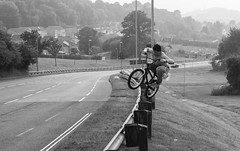 Adventure without risk is Disneyland (Gary D Nobody) Tags: life street uk travel summer portrait england people urban blackandwhite monochrome sunshine sport canon walking landscape 50mm countryside town bmx britain candid extreme documentary plymouth bikes devon portraiture biking cinematic