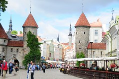 Spires & people. (john a d willis) Tags: tallinn estonia baltic medieval unescoworldheritagesite townwall capitalcity