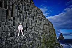 Páll Óskar (LalliSig) Tags: ocean blue portrait sky people musician music cliff cloud sun white mountain black rock landscape coast iceland rocks south gray portraiture páll stuðlaberg óskar reynisfjara reynisdrangar