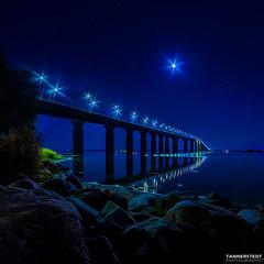 land Bridge (Tannerstedt Photography) Tags: ocean nightphotography bridge moon beautiful nightscape sweden kalmar land landsbron