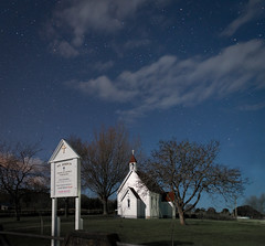 A Simple Church under a Simple Sky (ajecaldwell11) Tags: light newzealand sky church night clouds stars stjohns moonlight hawkesbay waimarama pwpartlycloudy