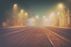 fog. (angsthase.) Tags: blur green fall leaves fog night germany deutschland nacht rails nrw grn bltter ruhrgebiet dortmund gleise kreuzviertel ruhrpott mft mllerbrcke 2013 cmount micro43 olympuspenepl1 slrmagictoylens26mmf14