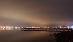 Guntersville City Lights (joegilbreath) Tags: sky mist lake water fog canon lowlight alabama nightshots guntersville t4i alabamapictures vision:sunset=0888 vision:sky=099 vision:clouds=097 vision:outdoor=0916