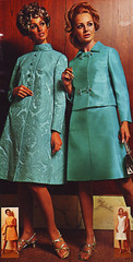 Sears 68 fw teal suit (jsbuttons) Tags: blue clothing 60s buttons sears womens catalog 1968 sixties 68 chintz skirtsuit vintagefashion buttonfront