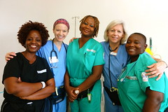 "CSI volunteer nurses with their Liberian colleagues. • <a style=""font-size:0.8em;"" href=""http://www.flickr.com/photos/109076046@N08/10946323155/"" target=""_blank"">View on Flickr</a>"
