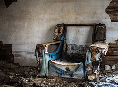 sitting room blues (Rodney Harvey) Tags: blue house rot abandoned rural chair furniture decay iowa livingroom