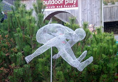 Part of the Long Jump sculpture (Tony Worrall Foto) Tags: man tree art metal outside cool jump wire artwork artist designer north made trail cumbria athlete cumberland leaping penrith rheged wireman cumbrian 2013tonyworrall