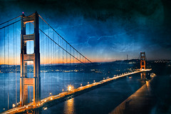 Golden Dawn Bridge - Gloomy Ghost Grunge (freestock.ca  dare to share beauty) Tags: california city travel bridge blue light sky urban orange usa black building texture tourism water beautiful beauty yellow architecture america river dark lights golden town us scenery gate san francisco long exposure pretty tears raw glow gloomy bright image suspension vibrant background grunge united ghost stock apocalypse scenic picture cyan free scene gritty creepy crack american nicolas worn horror bleak glowing raymond states lightning cracks distressed epic resource grungy apocalyptic touristic vibrance somadjinn freestockca