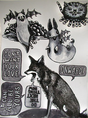 onward coyote with ghosts (Pippypippy) Tags: coyote rabbit ink cat sticker stickerart drawing tabby ghost ghosts imaginary lapin tentacles handdrawn batwings onward ghostcat sansserif lechat imaginaryanimals speechbubbles ghostrabbit ghostbunny dontwantyourlove