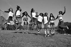 The Jump (faungg's photos) Tags: park girls people blackandwhite bw usa mobile fun us al high jump group alabama 黑白 女孩 人像 跳跃
