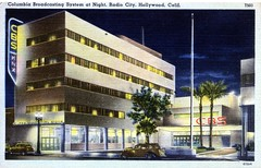 Columbia Broadcasting System at Night Radio City Hollywood CA (Edge and corner wear) Tags: california vintage pc los angeles linen postcard columbia system card hollywood broadcasting a cbs
