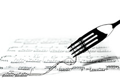 music is food for the soul (brescia, italy) (bloodybee) Tags: 365project music sheetmusic pentagram notes play chopin lines strings thread fork spaghetti food eat humor fun highkey bw white black stilllife steel metal