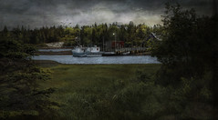 Hidden Cove (Carolyn Little) Tags: novascotia water cove clouds textures landscape boats wharf ie magicunicornverybest dockbay