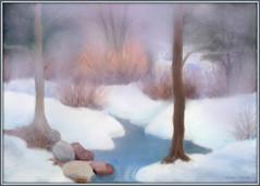 Misty woods - pastel (edenseekr) Tags: misty woodlands brook artwork photopainting