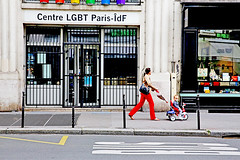 Hate Will Not Make the World Great (kirstiecat) Tags: centrelgbtparis paris france street strangers parent child tricycle saturation windows rainbow canon lgbtq humanrights europe