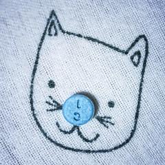 chill cat (jojoannabanana) Tags: 3652017 anxiety blue canonpowershot cat clonazepam closeup fabric klonopin macro medication pill psychological sqaureformat sqaure s100 texture