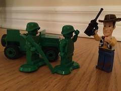 Woody's Orders (splinky9000) Tags: disney pixar toy story lego toys minfigures kingstory kingston sheriff woody sarge green army soldiers jeep
