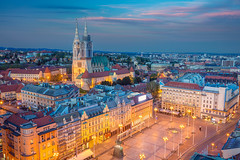 Zagreb. (Rudi1976) Tags: zagreb croatia cityscape travel architecture skyline twilight capital city town exterior buildings sunset dusk europe urban sky blue traveldestination church outdoors tower townscape square famousplace oldtown historical illuminated street