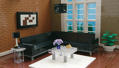 Brown Living Room (Heksu) Tags: furniture couch carpet coffee table lego
