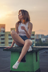 DSC_4753a (Catharsis_Face2Face) Tags: polishgirl polishmodel girl model session photosession photoshot outdoorsession rooftop sunset beautyfulgirl naturalbeauty shorts jeansshorts bra whitetop wroclaw nikon nikonphotography d5300 summer summersunset