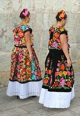 Zapotec Women Tehuanas Oaxaca Mexico (Teyacapan) Tags: women mujeres mexican oaxacan tehuanas trajes huipil skirts embroidered flowers clothing
