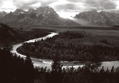 Snaking along the Tetons (Rocky Pix) Tags: snakingalongthetetons overlook deadmans bar road hwy 89 ushwy26 snake river oxbow grant teton storm point county wyoming rockypix rocky mountain pix wmichelkiteley retouch 1200 600dpi scan edit card f22 160sec 55mm 55mmmicronikkorf35 plusx bw film normal tripod
