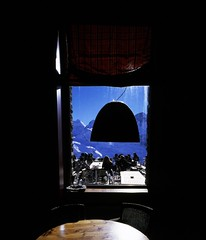 Through the blue window (swigadelica) Tags: swigadelica swig window snow gornergrat zermatt fujivelvia slidefilm mamiya7ii