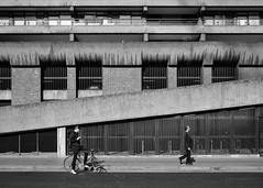 Walk On By The Barbican (cybertect) Tags: canonfd35mmf28 cityoflondon ec2 london londonec2 moorlane sonya7 thebarbican bicycle blackwhite blackandwhite concrete cyclist monochrome ramp street uk