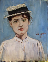 Young Woman with Straw Hat (kevin63) Tags: lightner photo painting oil canvas board primed black woman victorian edwardian hat straw boater 1890s snapshot portrait realistic white blouse greeneyes 1900s old vintage antique