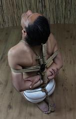 a- floor (shibarigarraf) Tags: shibari bondage shibarigarraf male rope hair bound