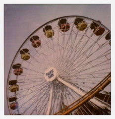 Pacific Park Ferris Wheel (tobysx70) Tags: the impossible project tip polaroid sx70sonar sonar instant color film for sx70 type cameras impossaroid ferris wheel pacific park santa monica pier california ca sign gondola amusement end of trail route 66 rt rte 031017 cromwalk polawalk toby hancock photography