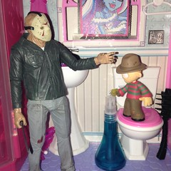 Potty Training (splinky9000) Tags: kingston ontario toys horror movie funko mystery mini freddy krueger nightmare on elm street neca jason voorhees friday the 13th action figures barbie doll house toilet bathroom sink