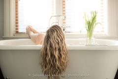 114/365 - Bath (Self Portrait) (Jacqueline Sinclair) Tags: bathtub selfportrait selfie bath tub hair blond blonde curl curls curly tulips flower flowers vase claw foot cast iron sun sunny sunshine shine bathroom