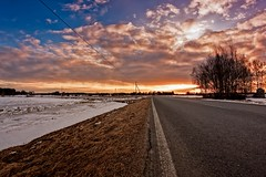 Lonely Road To The Sunset (k009034) Tags: 500px sky sunset nature sun clouds transportation road snow fields countryside leading lines agriculture communication rural telephone line springtime no people finland tranquil scene copy space oulainen matkaniva teamcanon