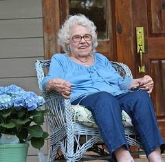 98th Birthday (scmrsgena) Tags: 98 hydrangea smile mom grandmother grandma oldlady porch wicker home aviarylane mrsgena elderly birthday