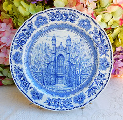 Vintage Wedgwood Yale College Old Library 1844 Plate ~ Blue White (Donna's Collectables) Tags: vintage wedgwood yale college old library 1844 plate ~ blue white