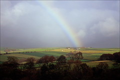 bagshaw rainbow (Ron Layters) Tags: bagshaw rainbow fields countryside landscape hill patchwork trees peakdistrict peakdistrictnationalpark badweather chapelenlefrith england slidefilmthenscanned slide transparency fujichrome velvia leica r3 leicar3 ronlayters highestpositioninexplore149onsaturdayapril222017 explore interesting 2k 5k