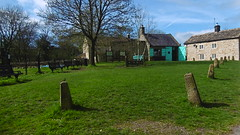 old bollards &  National Trust tourist centre, Church St, Eyam   -   April 2017 (dave_attrill) Tags: green old bollards national trust centre 260 deaths eyam derbyshire peak district hope valley 11th century village bubonic plague breakout 1665 rev william mompessom anglo saxon roman lead mining outdoor historic mid 17th cottages cottage april 2017 park white mines domesday book
