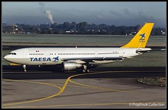 XA-SYG / DUS mid 1990s (propfreak) Tags: propfreak propfreakcollection slidescan eddl dus dusseldorf xasyg airbus a300b4203 taesa a300 n229ea easternairlines n14973 continentalairlines tcalu airalfa phsfk schreinerairways n821sc tradewinds airmacao centurionaircargo transcarga