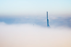 Emerged (ZulfiPhoto) Tags: fog dubai foggy nature architecture skyscrapers airplane daylight abstract