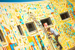 Painter (Thomas Hawk) Tags: america california eastbay oakland piedmontave piedmontavenue usa unitedstates unitedstatesofamerica ladder mural publicart streetart fav10 fav25